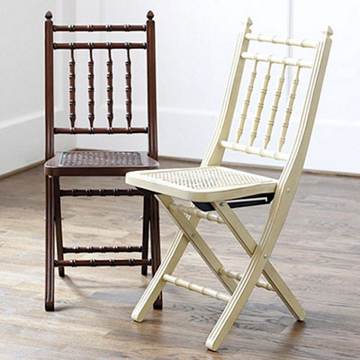 This St. Germain Folding Chair Is Made From Solid Wood With Fluted Rails, A  Tightly Woven Cane Seat And A Bamboo Style Back. It Is Easy To Fold, ...