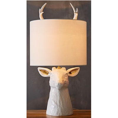 white stag animal table lamp