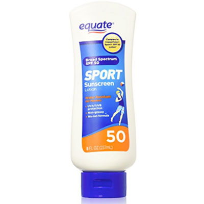Skin cancer prevention Equate lotion
