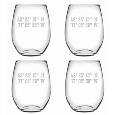 latitude etched stemless wine glasses
