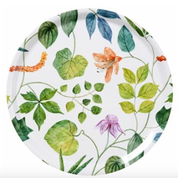 round floral serving tray