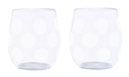 melamine glassware with polka dots