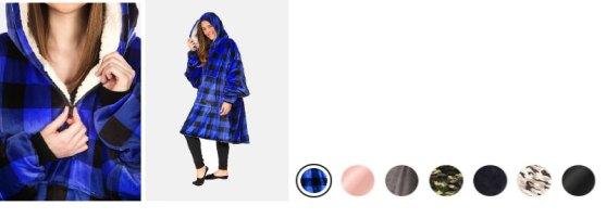 plaid 3/4 zip wearable blanket