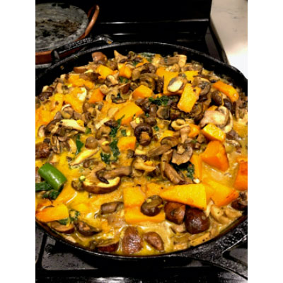 plant based cooking Squash mushroom curry