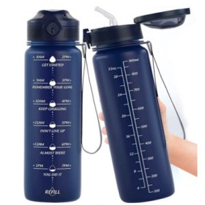 water bottle with time markers
