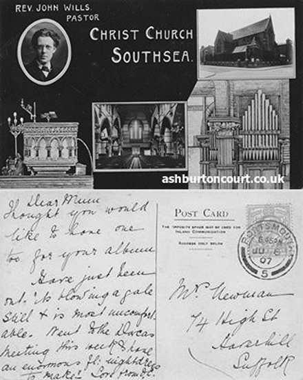 Postcard1907_ChristChurch Front & The Ashburton Hall