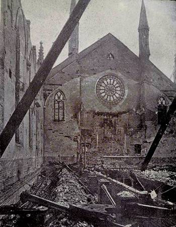 St. Paul's Church, Southsea after aerial bombing in 1941