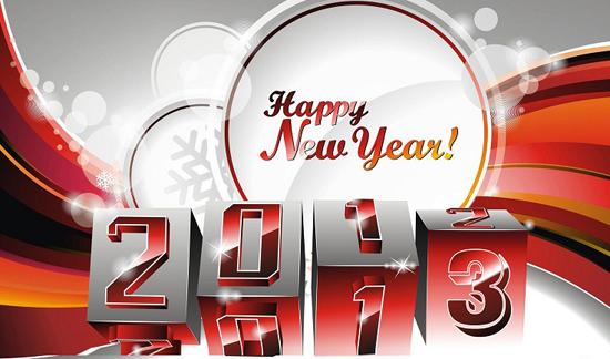 Meilleur création vectoriel 3D de  nouvelle année 2013 _ Happy New year  free download