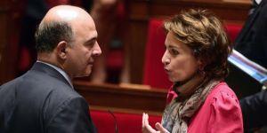 Pierre Moscovici et Marisol Touraine à l'Assemblée nationale lors du vote sur la réforme des retraites. | AFP/ERIC FEFERBERG