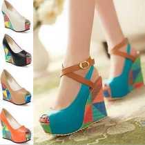 2015-femmes-pompes-mode-New-bohême-compensées-Colorful-été-chaussures-de-mariage-haute-talons-Peep-toe