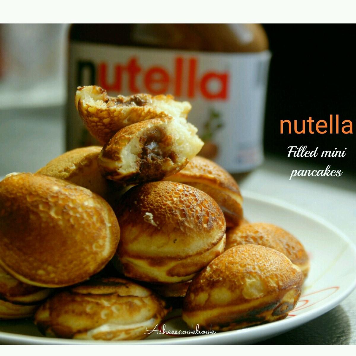 Nutella Filled Mini Pancake Bites