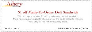 $1 off Made To Order Sandwich