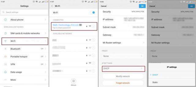 Obtaining IP Address Modify Settings