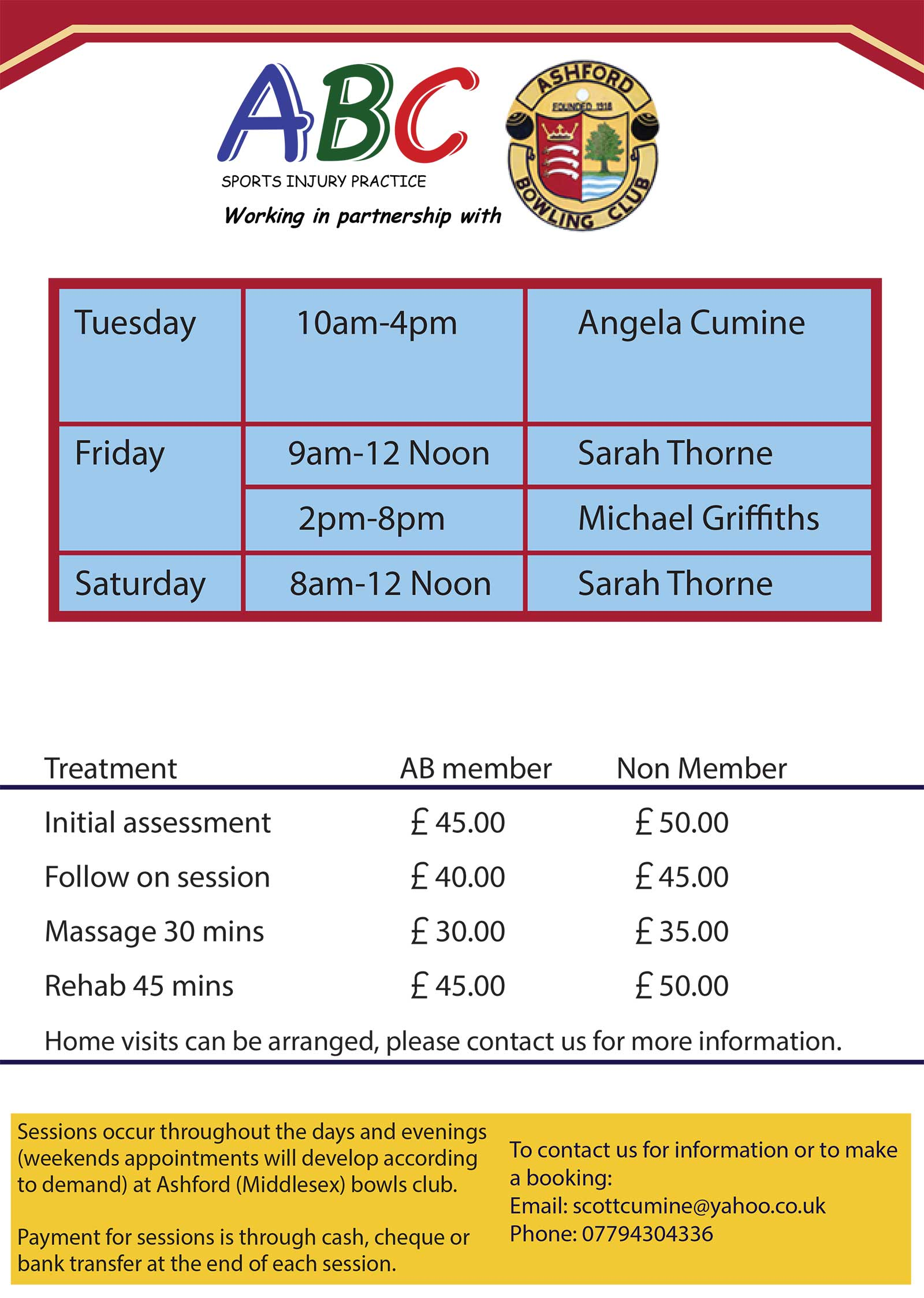 Physio prices Ashford and Staines