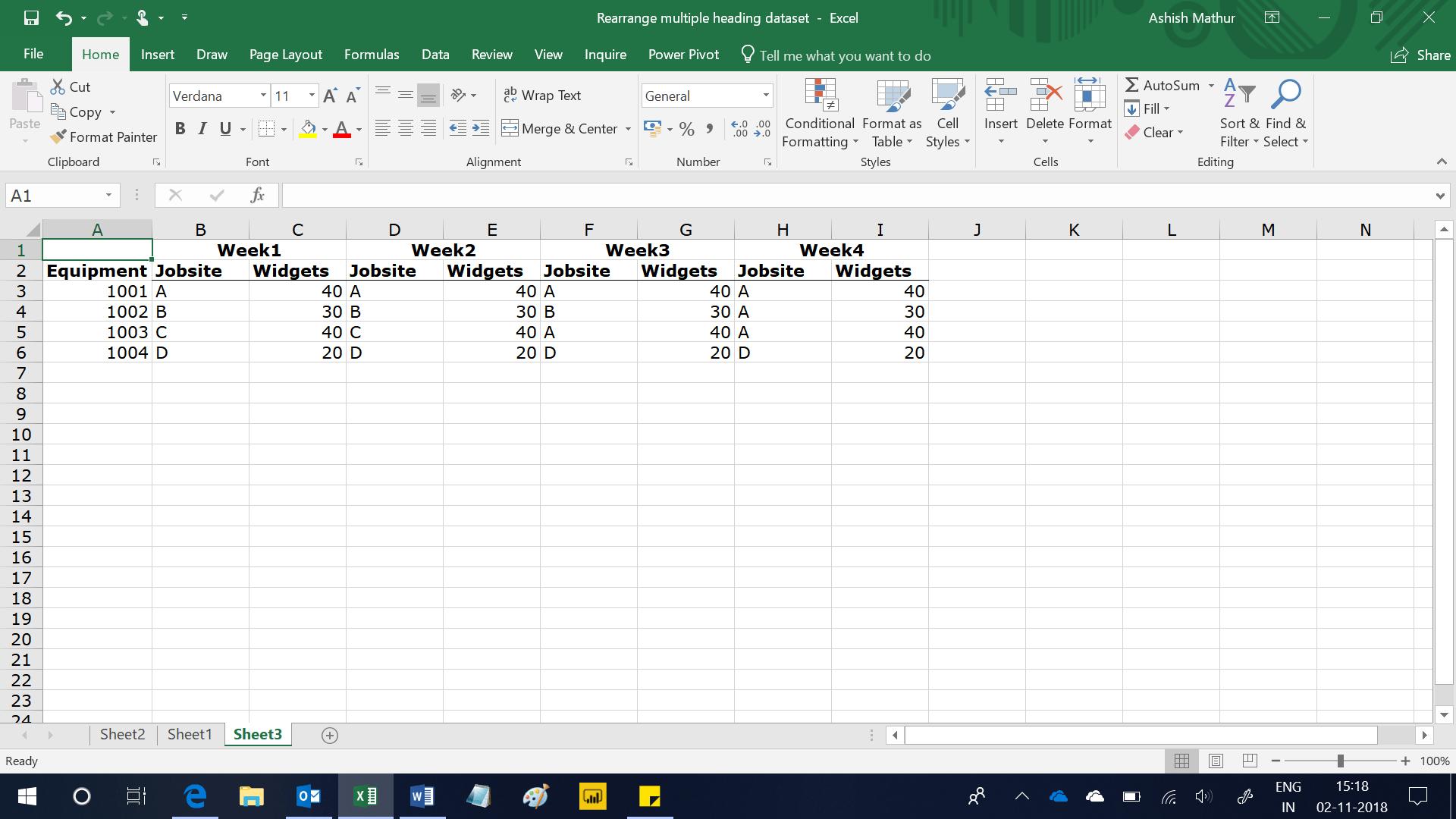 Rearrange A Multi Heading Dataset Into A Single Heading