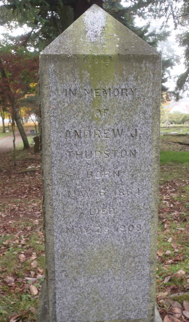 Andrew J. Thurston, gravestone inscription, Chemainus Cemetery, Chemainus, B.C.