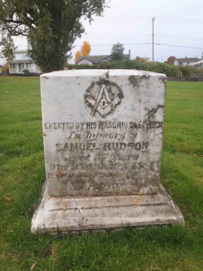 Grave of Samuel Hudson in Bowen Road Cemetery, Nanaimo, B.C.