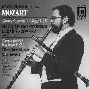 CD cover, Mozart - Clarinet Concerto & Clarinet Quintet, David Shifrin, Delos Records