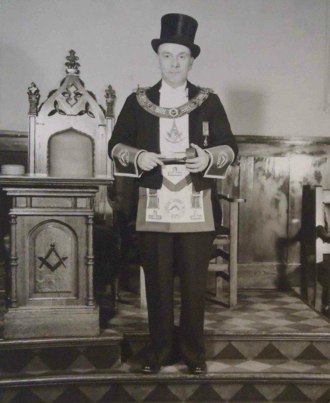 Francis Rowbottom, Worshipful Master of Ashlar Lodge, No.3 in 1954
