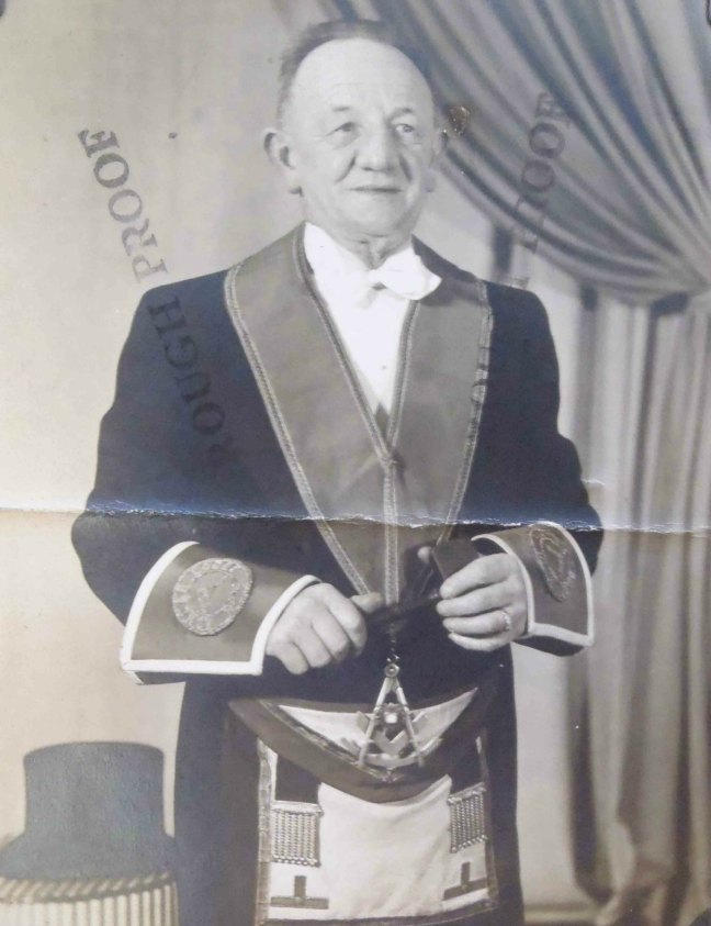 Harry Wilson, Worshipful Master of Ashlar Lodge, No.3 in 1945