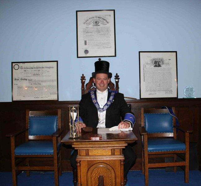 Jason Barudin, Worshipful Master of Ashlar Lodge, No.3 in 2014