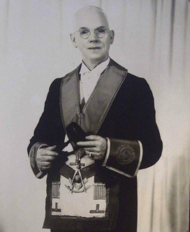 John Fee, Worshipful Master of Ashlar Lodge, No.3 in 1953