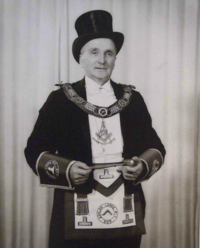 John Ross, Worshipful Master of Ashlar Lodge, No.3 in 1956