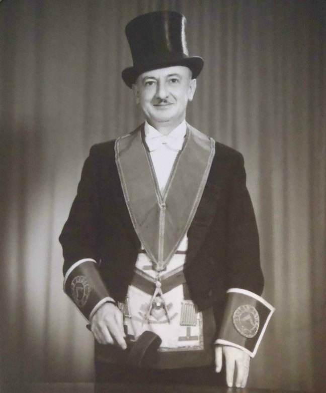 Ross Cashman, Worshipful Master of Ashlar Lodge, No.3 in 1954