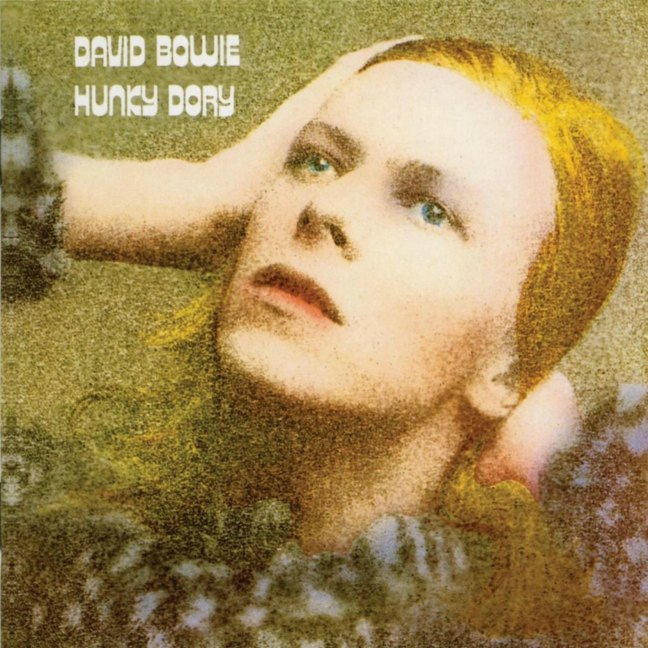 David Bowie, Hunky Dory (released 1972) album cover. Rick Wakeman played piano as a session musician on this album.