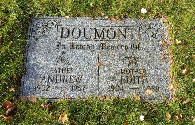 Andrew Doumont & Edith Doumont grave marker, Bowen Road Cemetery, Nanaimo, B.C.