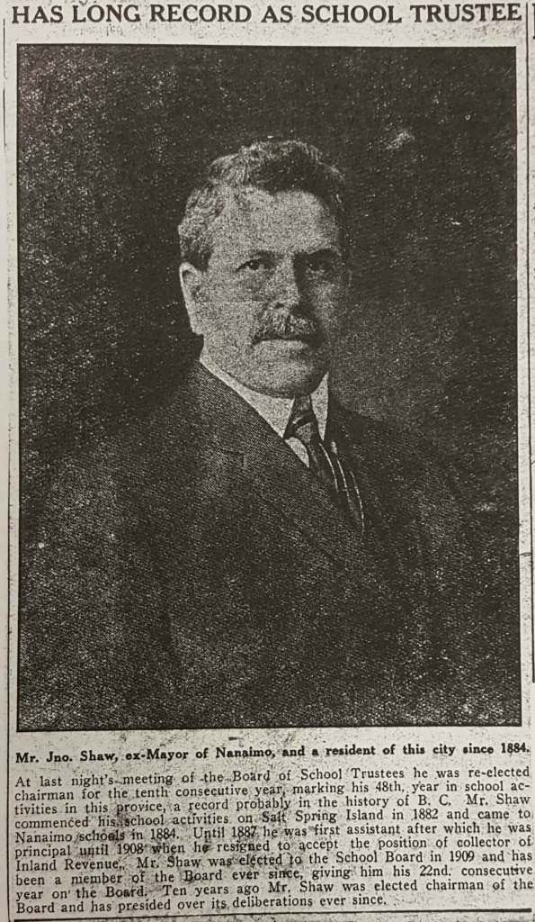 Article on John Shaw as Nanaimo School Trustee published in 1930.