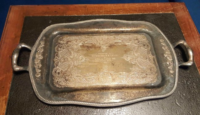 The commemorative tray presented to William W. Lewis by Ashlar Lodge No. 3 in 1937. We recently found this in a storage area in the Ashlar Masonic Temple.