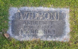 The grave marker of Andrew T. Wilson in Bowen Road Cemetery, Nanaimo, B.C.
