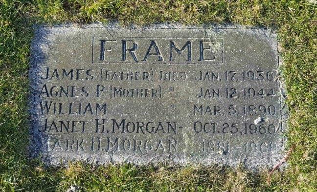 James Frame grave marker, Bowen Road Cemetery, Nanaino. B.C.