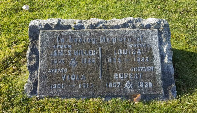 The grave marker of James Miller Brown, his second wife Louisa (nee Rumming)