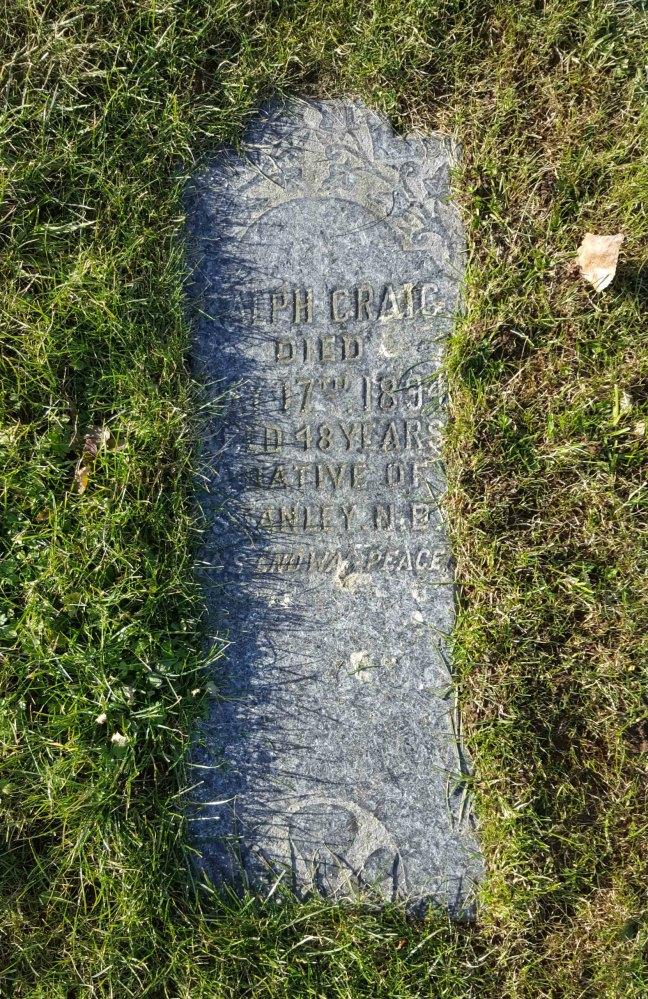 Ralph Craig grave marker, Bowen Road cemetery, Nanaimo, B.C.