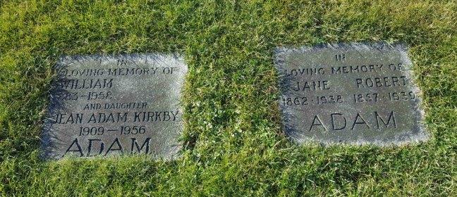 William Adam grave marker, Bowen Road cemetery, Nanaimo, B.C. (photo by Ashlar Lodge No. 3 Historian)