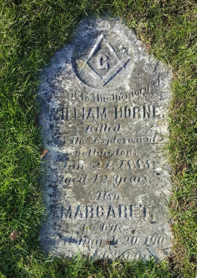 William Horne grave marker, Bowen Road Cemetery, Nanaimo, B.C.