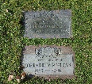 Allan James MacLean grave marker, Bowen Road Cemetery, Nanaimo, B.C,
