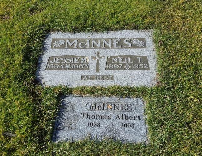 Neil T. McInnes & Jessie M. McInnes grave marker, Bowen Road Cemetery, Nanaimo, B.C,