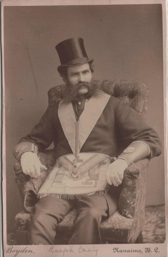 Ralph Dixon Craig circa 1885. The regalia he is wearing in this photo is that of a Worshipful Master. Since Ralph Craig was W.M. of Ashlar Lodge No. 3 in 1885, we think that indicates the date of the photo (photo courtesy of Josh Whartman)