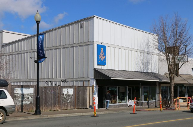 Courtenay Masonic Hall, 361 5th Street in downtown Courtenay (photo: Ashlar Lodge No. 3 Historian)