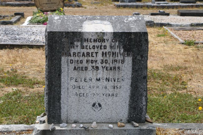 Peter McNiven grave, Cumberland Cemetery, Cumberland, B.C. (photo: Ashlar Lodge No. 3 Historian)