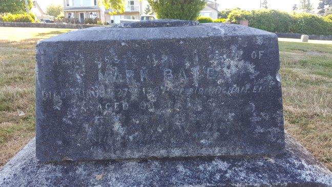 Inscription on Mark Bate grave, Bowen Road Cemetery (photo: Ashlar Lodge No. 3 Historian)