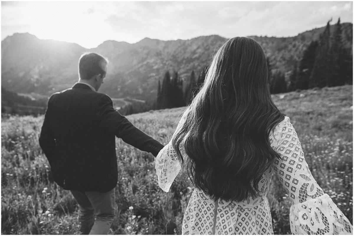 mountain wedding, summer wedding, wedding photographer, utah wedding, outdoors engagements, mountain engagements, black and white engagements