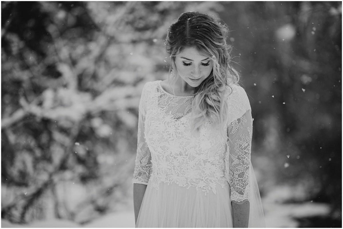 wedding, winter wedding, utah wedding, lace dress, lace wedding dress, snowy wedding shoot, bridals, winter bridals, black and white bridals, b&w bridals, bhld dress, bhld lace wedding dress,