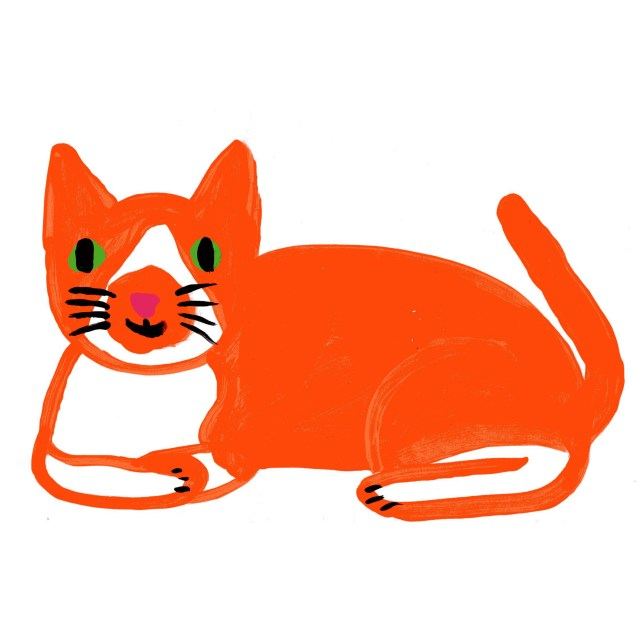 A painting of an orange cat with green eyes lying down with its paws folded under it.