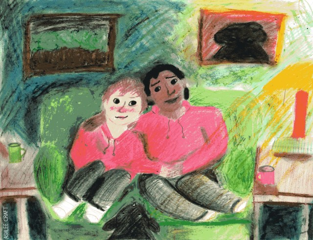 [IMAGE ID: A soft, slightly hazy pastel & colored pencil drawing of Jared & Darius sitting in the center of a green couch together. Darius is on the right & Jared is on the left. Their heads are touching & they are looking towards each other. Darius has his arm around Jared's shoulders & they are holding hands. Jared's other hand is resting in his own lap, & both Darius & Jared's legs are pulled up on the couch. Jared is shown as a Black person with medium-short curly hair, & Jared is shown as a white person with slightly shaggy brown hair. Both characters are wearing red hoodies, black pants, & white socks. Both are also blushing. Grove, the Hellhound which resembles something like a black lab, is standing in front of the couch with his head resting on the couch between Jared & Darius. The green couch is in front of a dark green wall with a painting of trees & a painting of Grove. On the right, there is a yellow lamp shedding light into the room. It sits on top of a wooden end table where a red mug also sits. On the right, there is another end table with a green mug on it. END ID]
