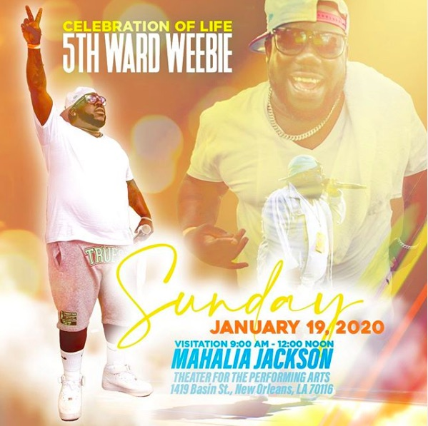 Flyer for 5th Ward Weebie's funeral arrangements