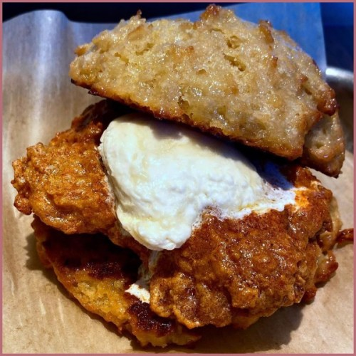 Hot Chicken & Honey Butter French Toast Biscuit at District Donuts